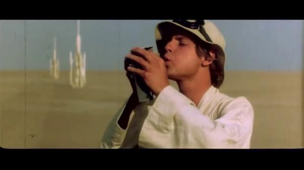 Still from deleted scene from Star Wars Episode IV showing Luke Skywalker.